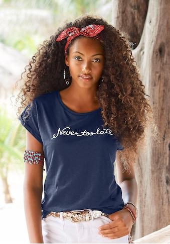 """Beachtime T-Shirt, mit modischem Sprüche Frontdruck """"Never too late"""" kaufen"""