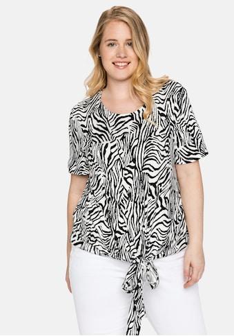 Sheego T-Shirt, mit Animalprint und geknotetem Saum kaufen