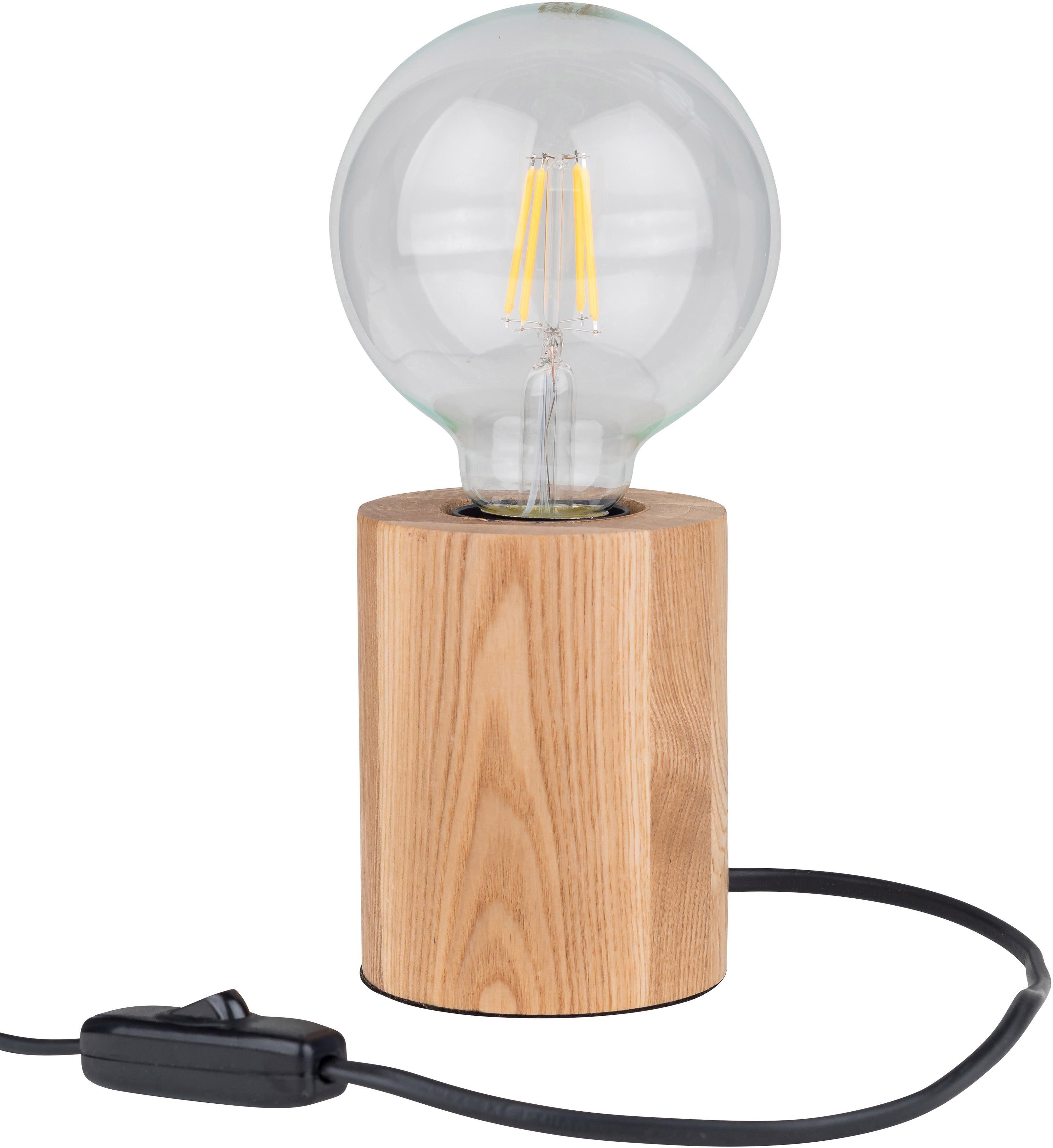 BRITOP LIGHTING Tischleuchte MINNIE, E27, Naturprodukt aus Eicheholz massiv, Nachhaltig - FSC-zertifiziert, Made in EU, passendes LM E27