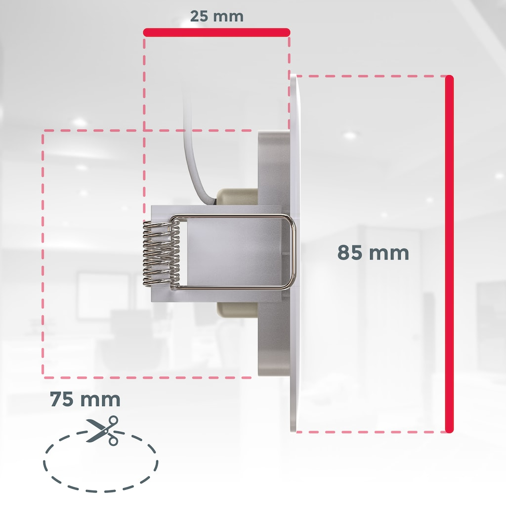 B.K.Licht LED Einbauleuchte, LED-Board, 5 St., Neutralweiß, LED Einbaustrahler Badlampe IP44 5W Spot Strahler flach 5er SET