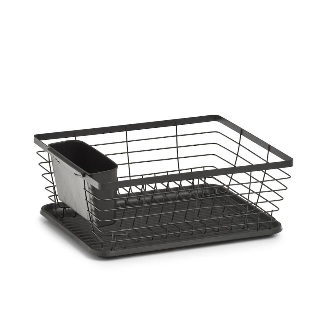 Zeller Present Geschirrständer, Metall, mit Besteck-Box u. Auffangmatte