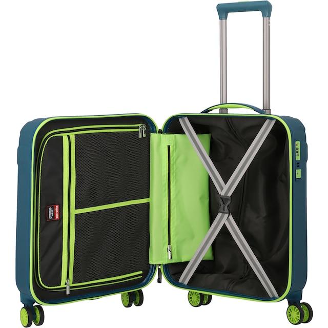 """travelite Hartschalen-Trolley """"Vector, 55 cm, Petrol/Limone"""", 4 Rollen"""