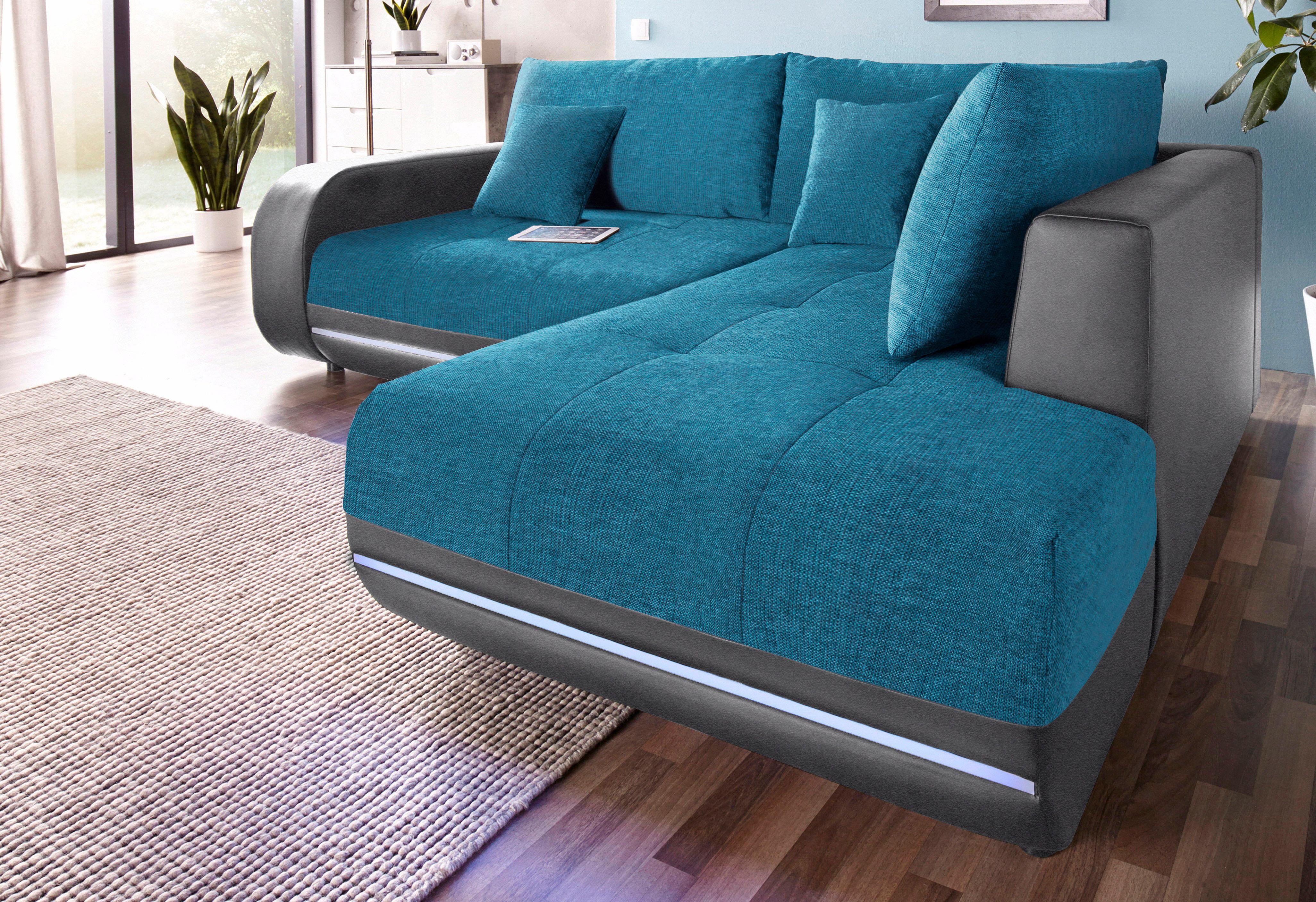 Nova Via Polsterecke, wahlweise mit Bettfunktion | Wohnzimmer > Sofas & Couches > Ecksofas & Eckcouches | Microfaser - Polyester - Kunstleder | NOVA VIA