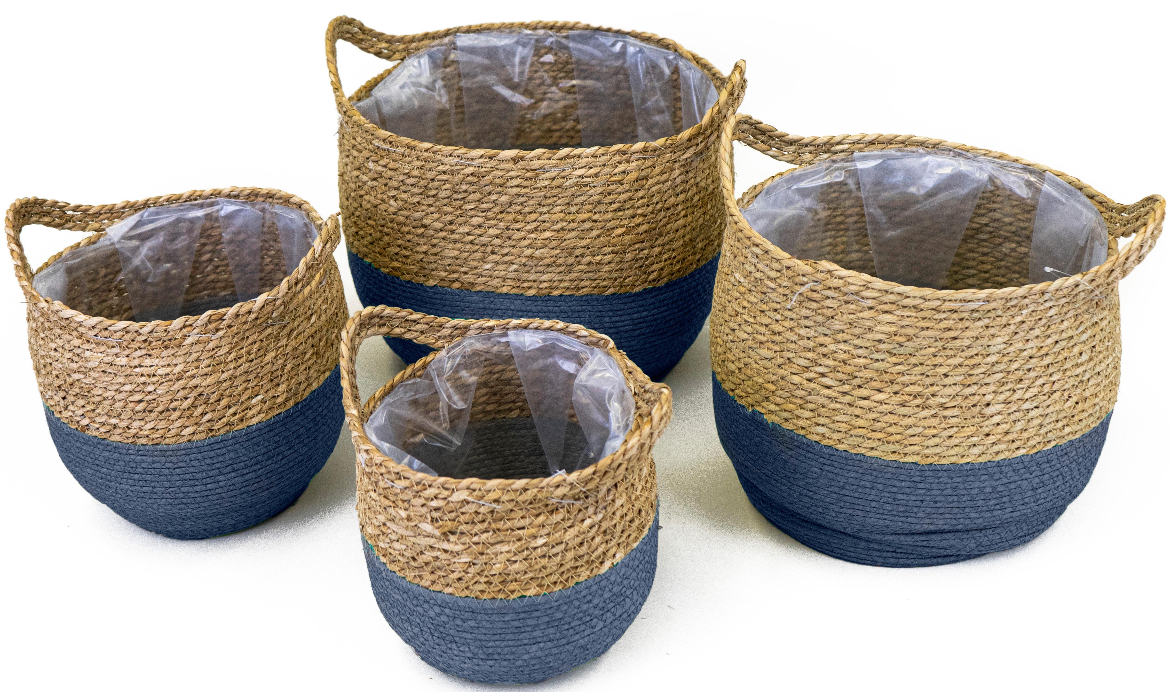 NOOR LIVING Aufbewahrungskorb, (Set, 4 St.), dekorative Aufbewahrung von verschiedenen Utensilien blau Körbe Ordnung Wohnaccessoires Aufbewahrungskorb