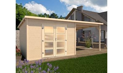 WEKA Set: Gartenhaus »wekaLine 1«, BxT: 410x277 cm, mit Anbaudach kaufen