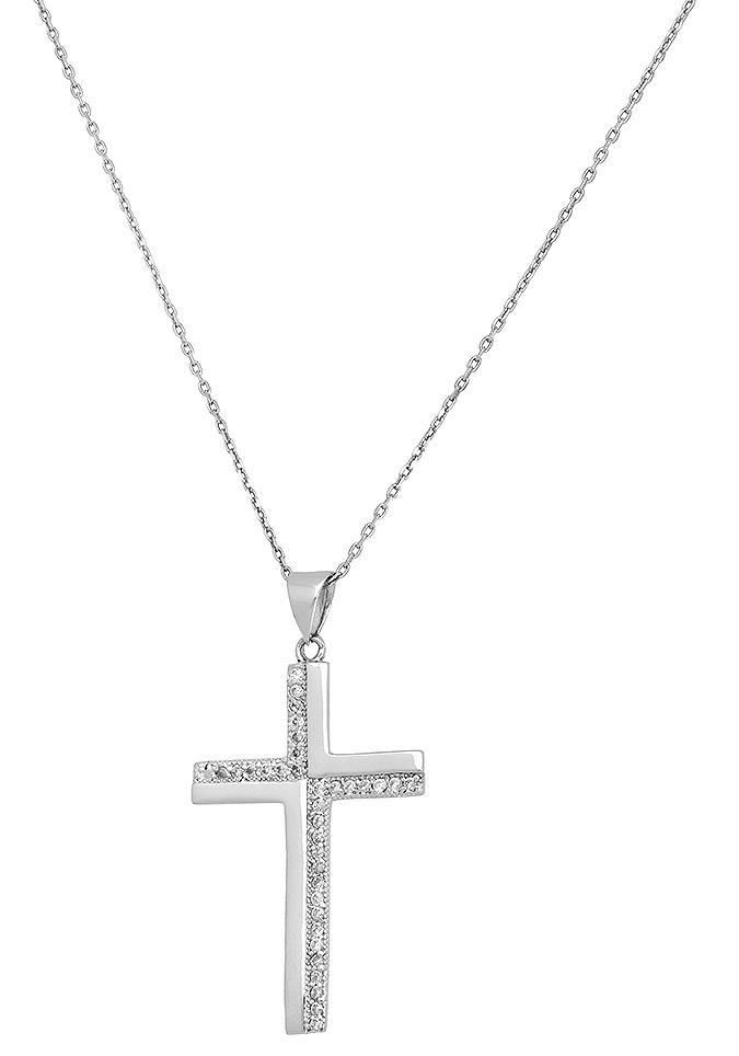 Firetti Kette mit Anhänger Kreuz rhodiniert glanz | Schmuck > Halsketten > Ketten mit Anhänger | Firetti