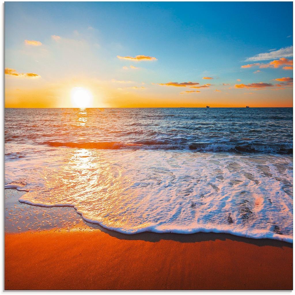 Artland Glasbild »Sonnenuntergang und das Meer«, Strand, (1 St.)