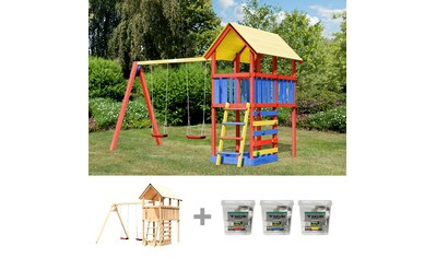 AKUBI Spielturm »Zirkusturm Danny«, BxTxH: 377x264x291 cm, mit Doppelschaukel, inkl. Farbe kaufen