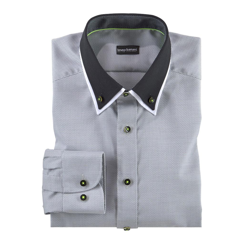 Bruno Banani Businesshemd, neonfarbene Kontrastdetails, bügelfrei