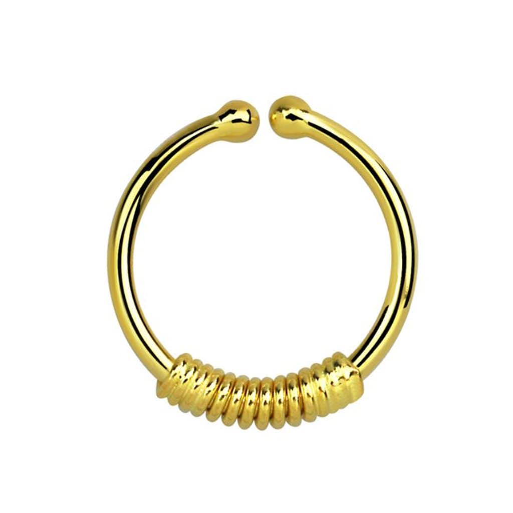 Adelia´s Nasenpiercing »Nasenpiercing Fake Ring Septum Klemmring gold«, Klemmring aus 925 Silber 18kt. vergoldet mit Spirale