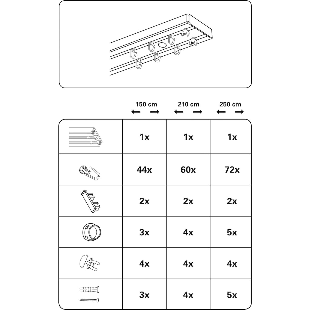 GARDINIA Gardinenschiene »Vorhangschienen Set GK2«, 2 läufig-läufig, Fixmaß
