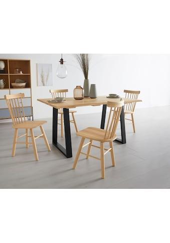 OTTO products Esstisch »Lennard«, aus massiver geölter Wildeiche, mit veganem und zertifizierten Bio-Öl behandelt, rechteckige Tischplatte, mit einer Baumkante und Metallkufengestell kaufen