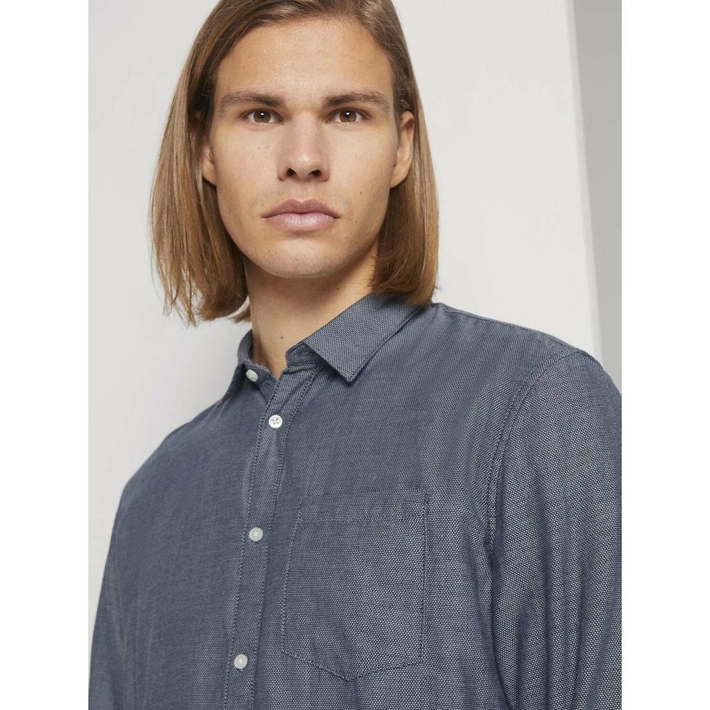 TOM TAILOR Denim Langarmhemd »Fein strukturiertes Hemd mit Bio-Baumwolle«