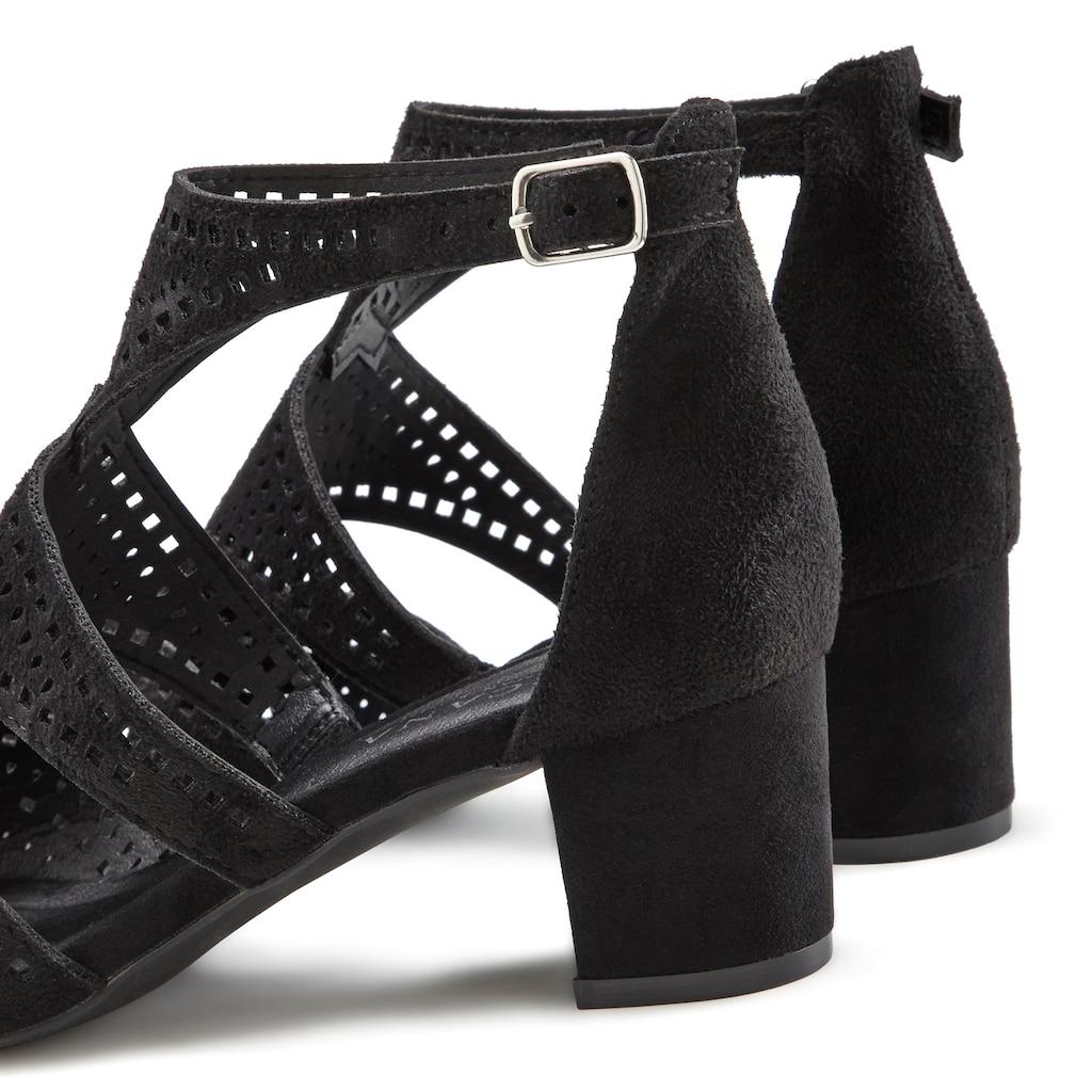 LASCANA Sandalette, mit Cut-Outs und bequemen Blockabsatz