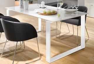 now by h lsta esstisch et 19 in zwei breiten untergestell aus metall wei bestellen baur. Black Bedroom Furniture Sets. Home Design Ideas