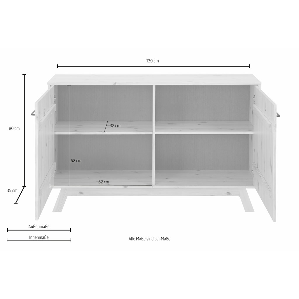 Home affaire Sideboard »New Nordic«, Breite 130 cm