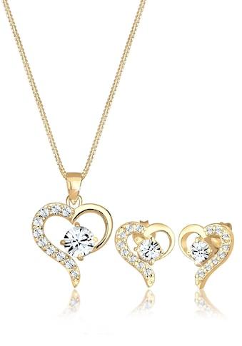 Elli Schmuckset »Herz Kristalle Edel 925 Silber« kaufen