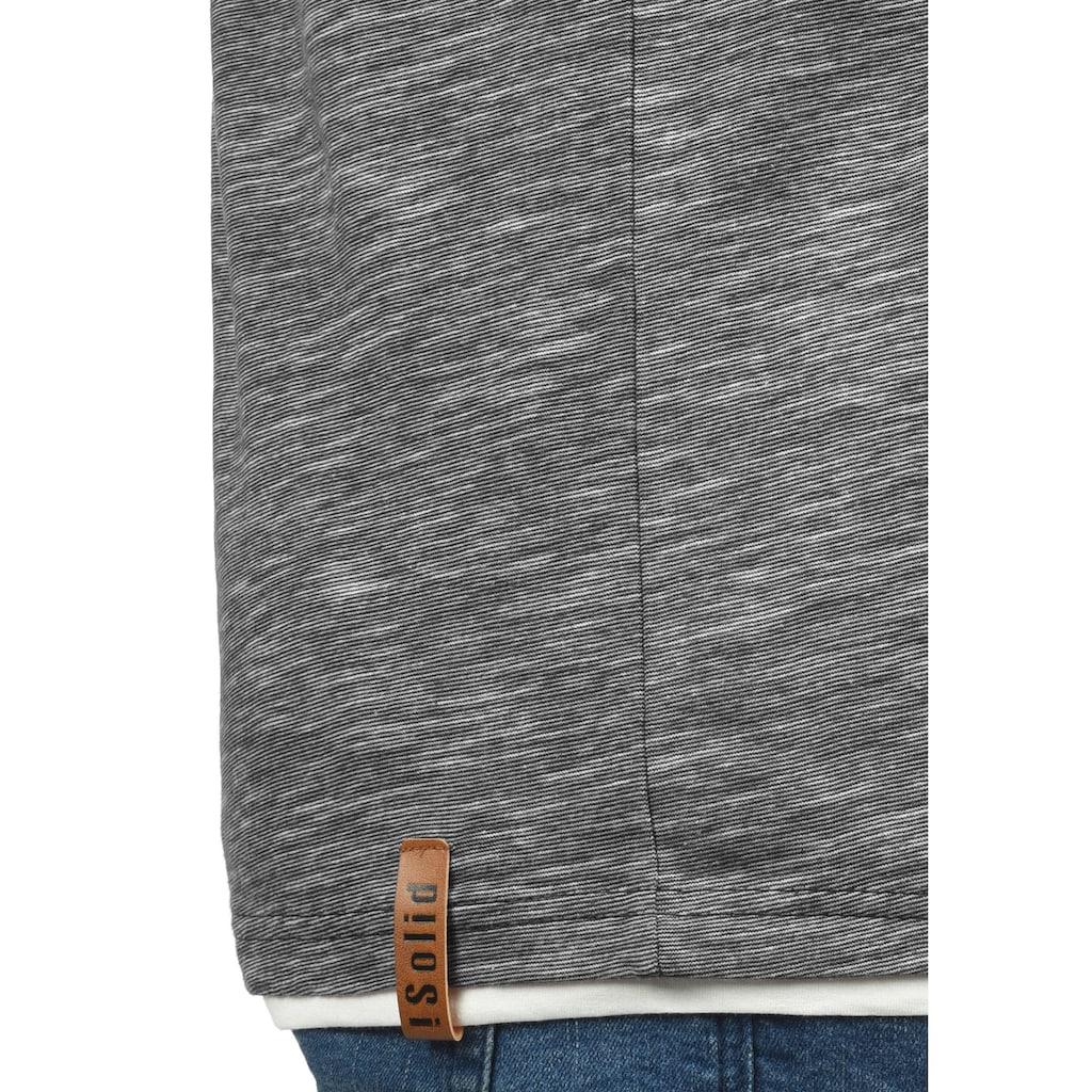 Solid Rundhalsshirt »Digos«, T-Shirt mit Knopfleiste