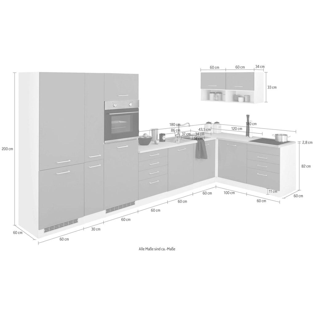 HELD MÖBEL Winkelküche »Visby«, ohne E-Geräte, Stellbreite 390 x 180 cm