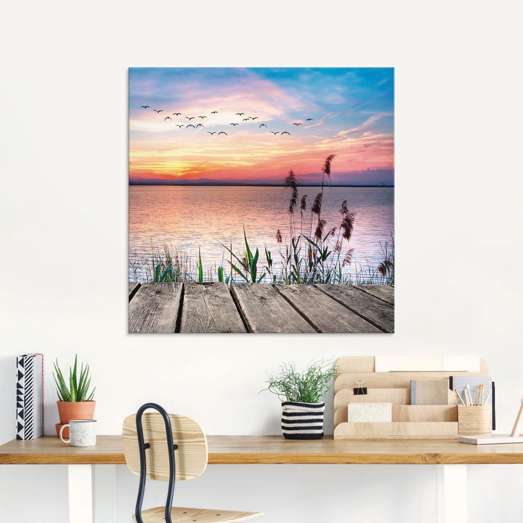 Artland Glasbild »Der See in den Farben der Wolken«, Gewässer, (1 St.)