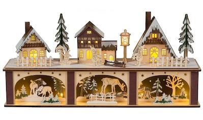 HGD Holz - Glas - Design Lichterbogen Winterstadt mit beleuchtetem Sockel für Batterie -  u kaufen