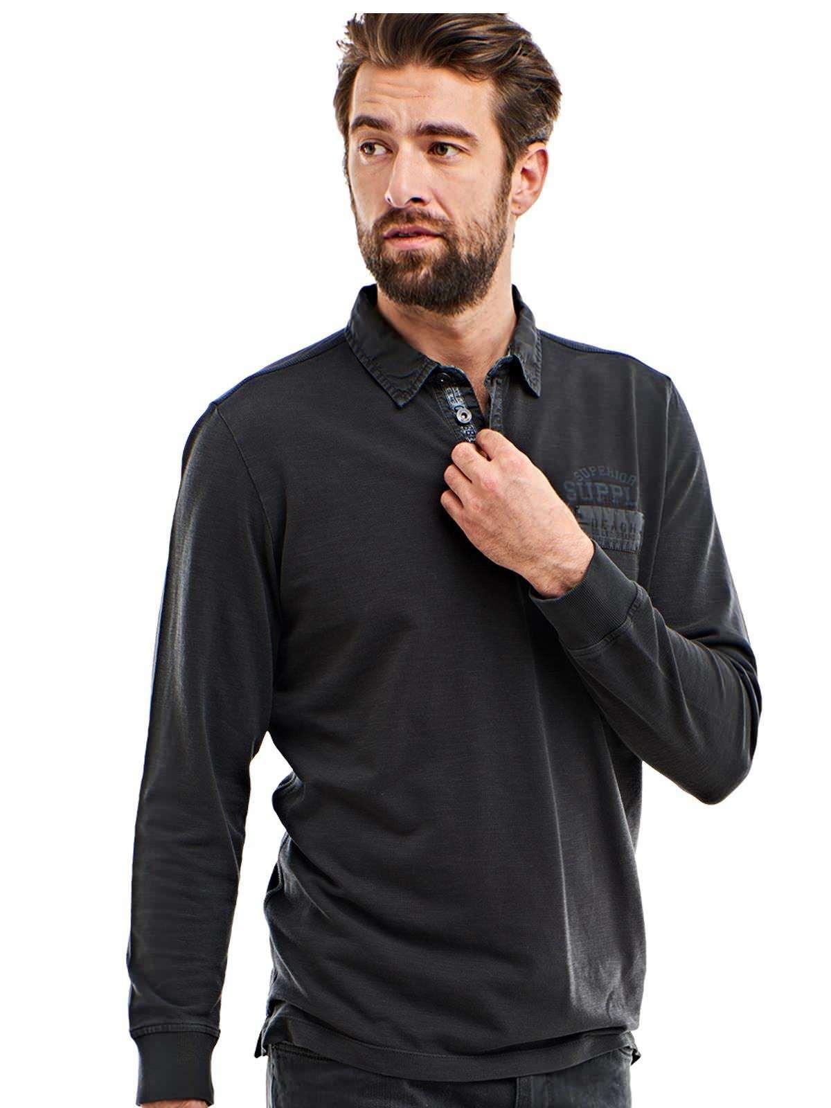 engbers Poloshirt langarm | Bekleidung > Polo Shirts > Langarm | Grau | Baumwolle | ENGBERS