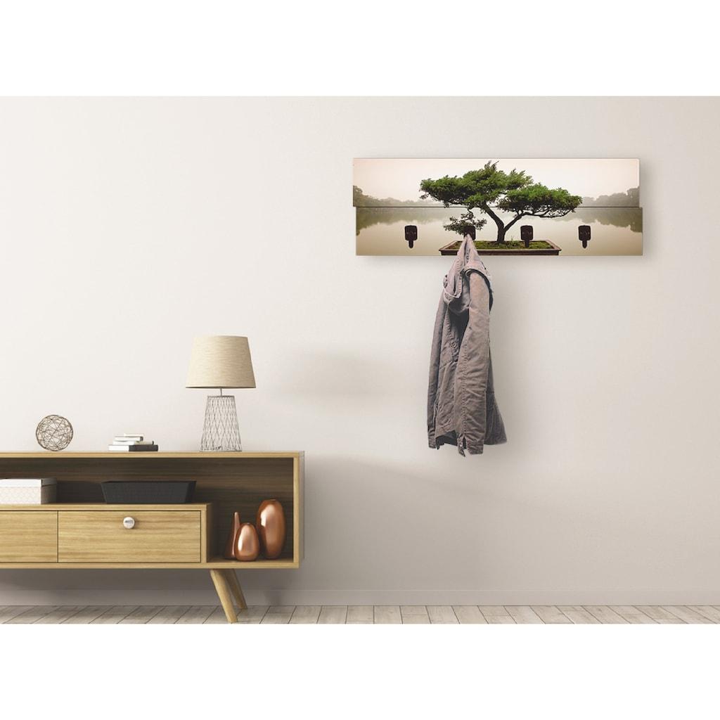 Artland Garderobenpaneel »Chinesischer Bonsaibaum«, platzsparende Wandgarderobe aus Holz mit 4 Haken, geeignet für kleinen, schmalen Flur, Flurgarderobe