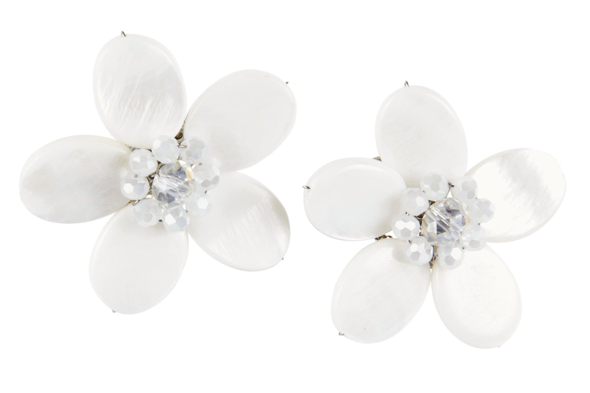 Heine Ohrclip in Blütenform   Schmuck > Ohrschmuck & Ohrringe > Ohrstecker   Weiß   Ca - Metall   Heine