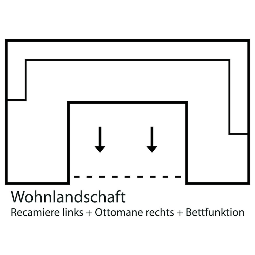 Home affaire Wohnlandschaft »Laverna«, wahlweise mit Bettfunktion und ggf. Bettkasten, in 4 Bezugsqualitäten