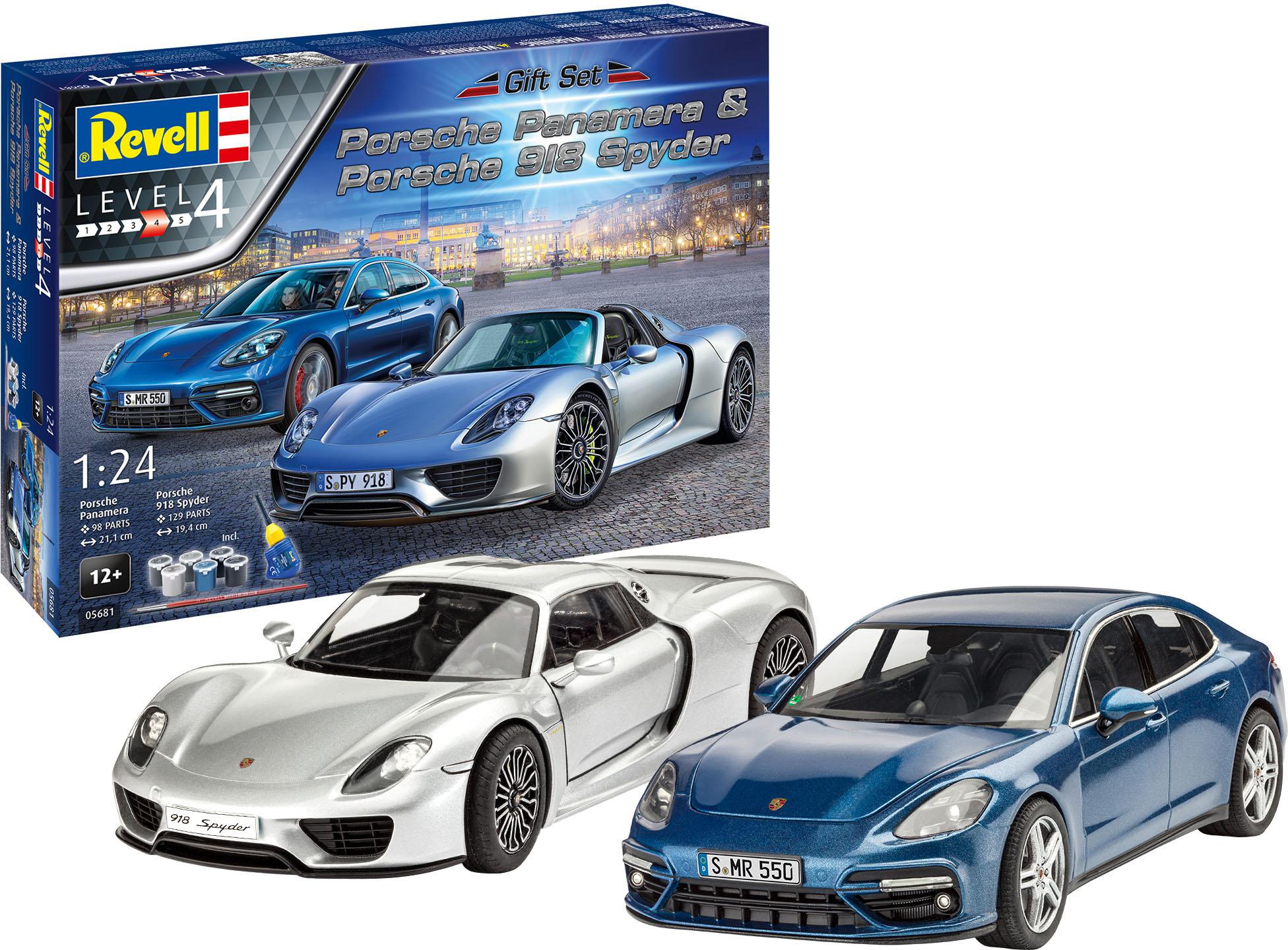 Revell Modellbausatz Porsche, 1:24, mit zwei Porsche-Modellen; Made in Europe blau Kinder Modellbausätze Bauen Konstruieren