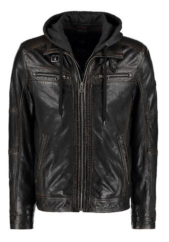 DNR Jackets Lederjacke, mit Kapuze und Ärmelbündchen kaufen