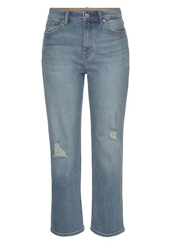 s.Oliver High-waist-Jeans »Karolin«, mit coolen Destroyed Effekten, straight fit, cropped kaufen