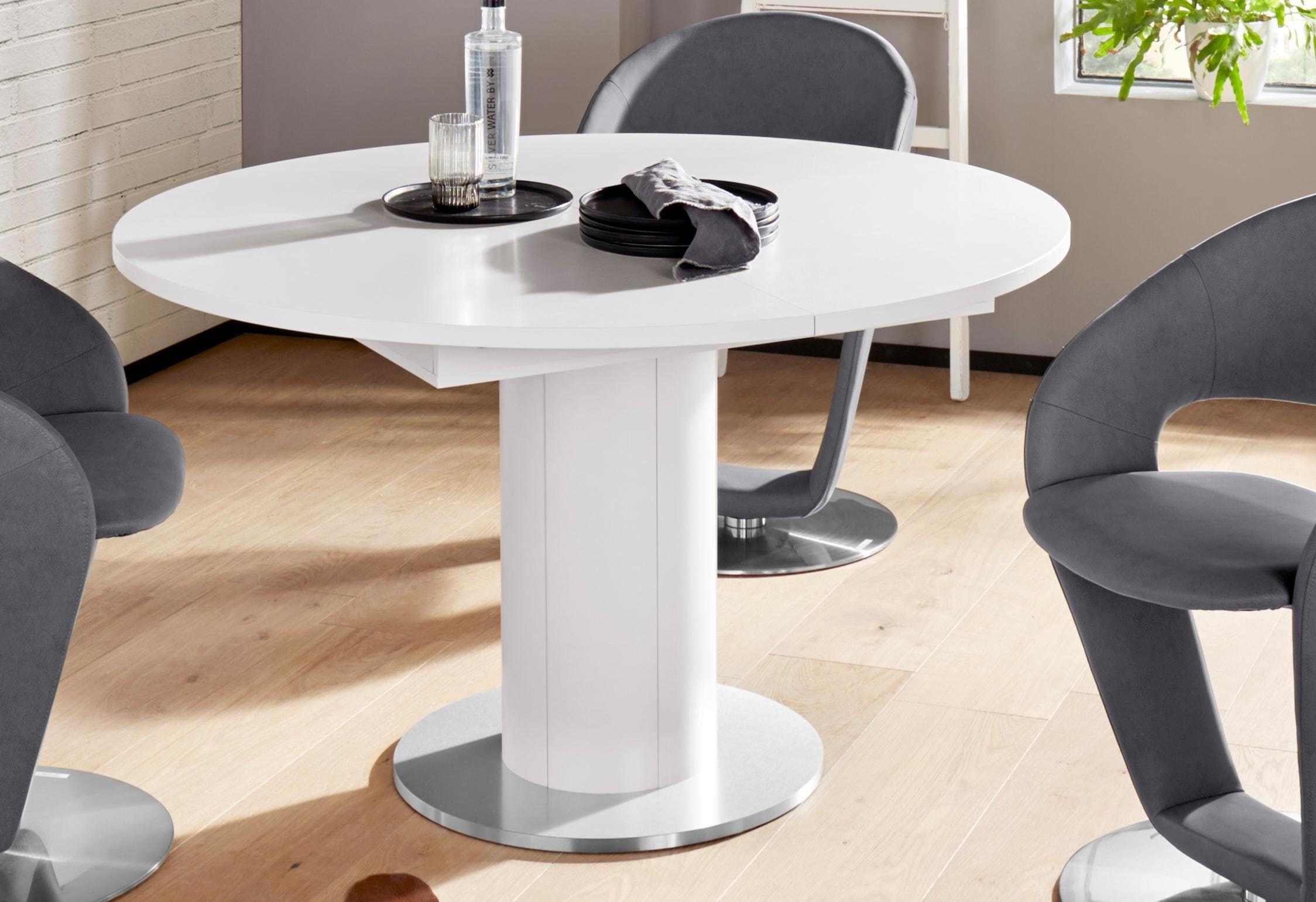 Mäusbacher Esstisch, rund, Untergestell Säule weiß Esstisch Ausziehbare Esstische Tische