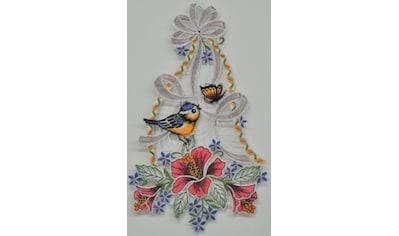 Stickereien Plauen Fensterbild »Vogel mit Hibiskus« kaufen