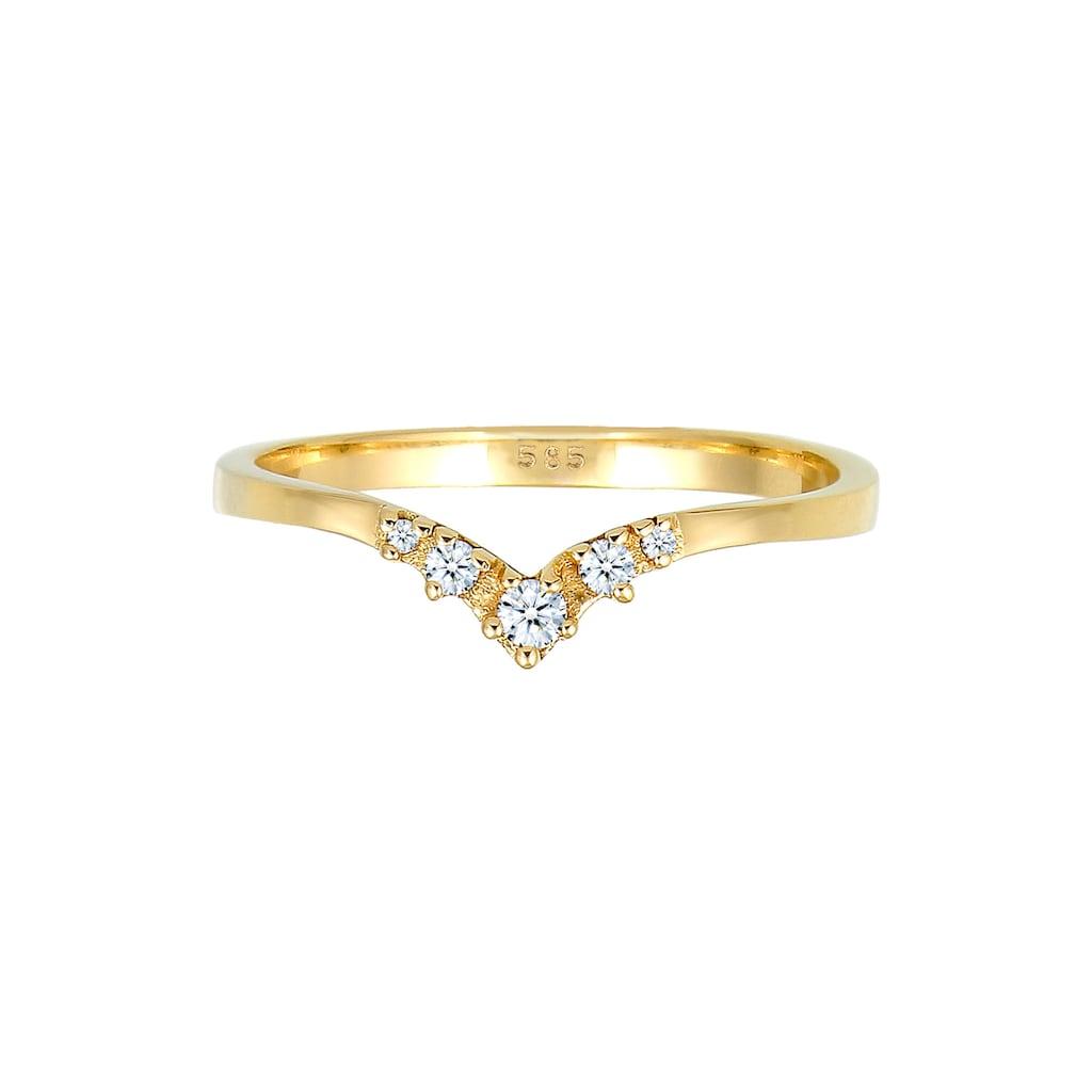 Diamore Verlobungsring »Verlobungsring V-Form Diamant 0.07 ct 585 Gelbgold«