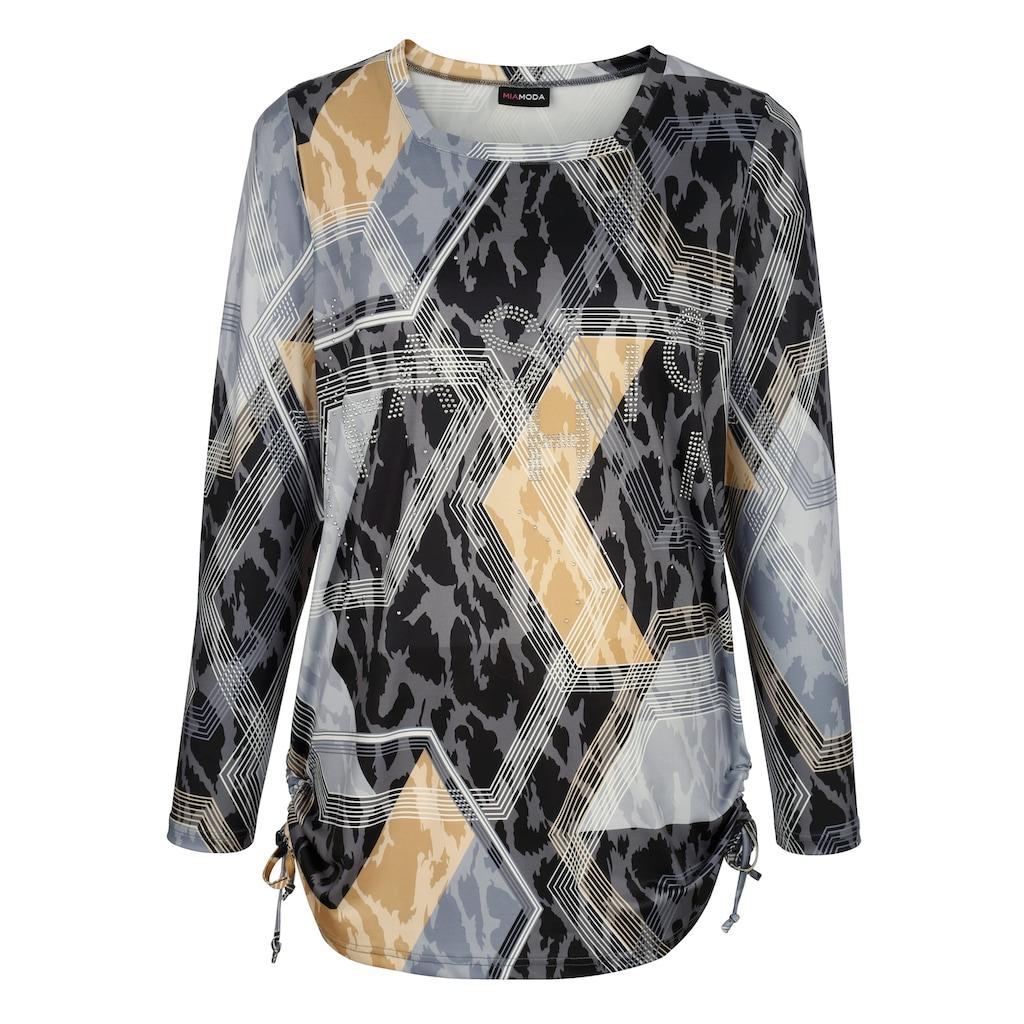 MIAMODA Print-Shirt, mit modischer Raffung seitlich