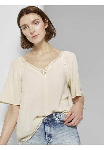 TOM TAILOR Denim Kurzarmbluse »Bluse aus Viskose-Crêpe in A-Shape« kaufen