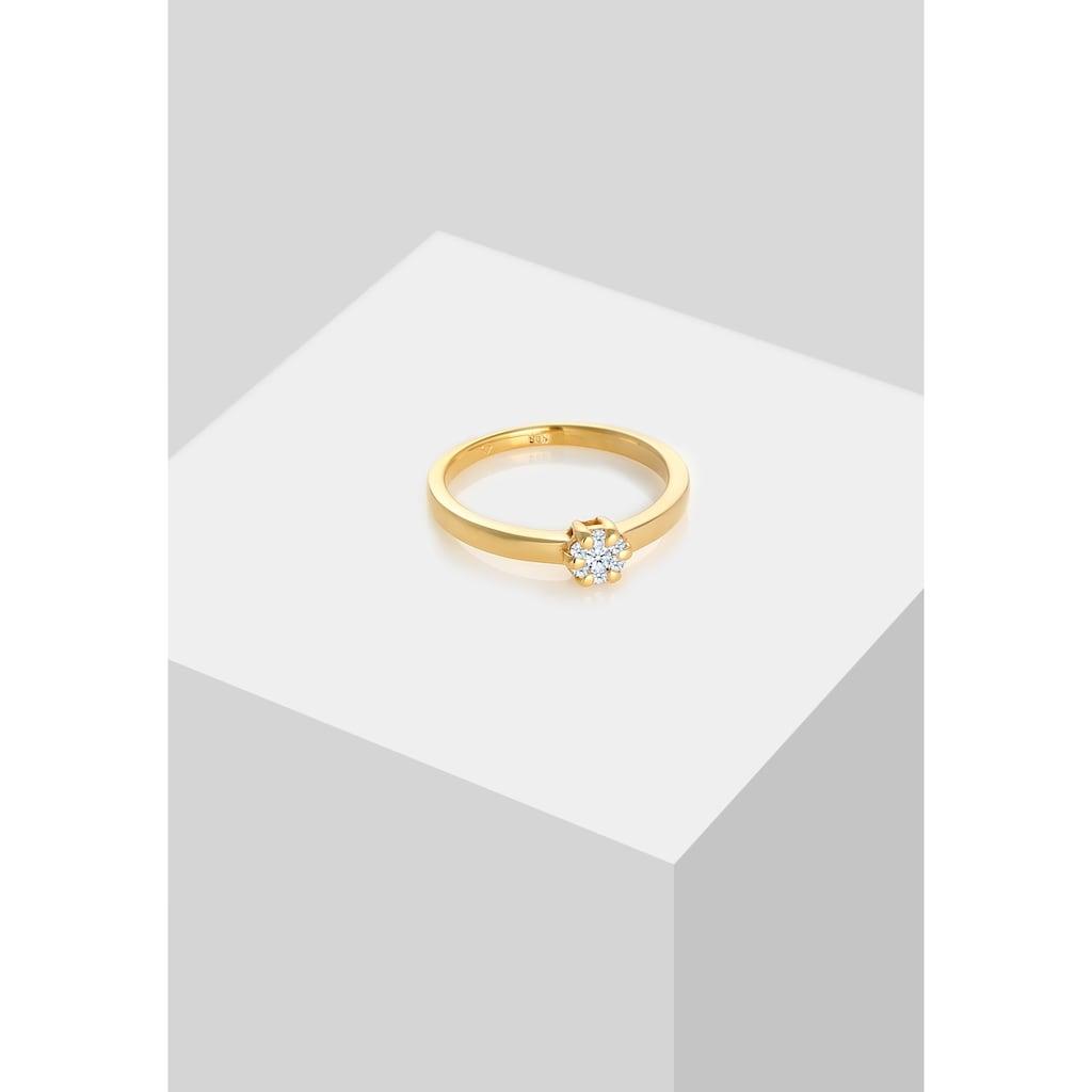 Diamore Verlobungsring »Blume Verlobung Diamant (0.12 ct.) 585 Gelbgold«