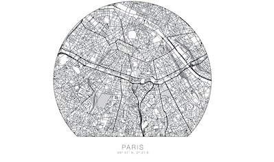 Wall-Art Wandtattoo »Paris Tapete runder Stadtplan« kaufen