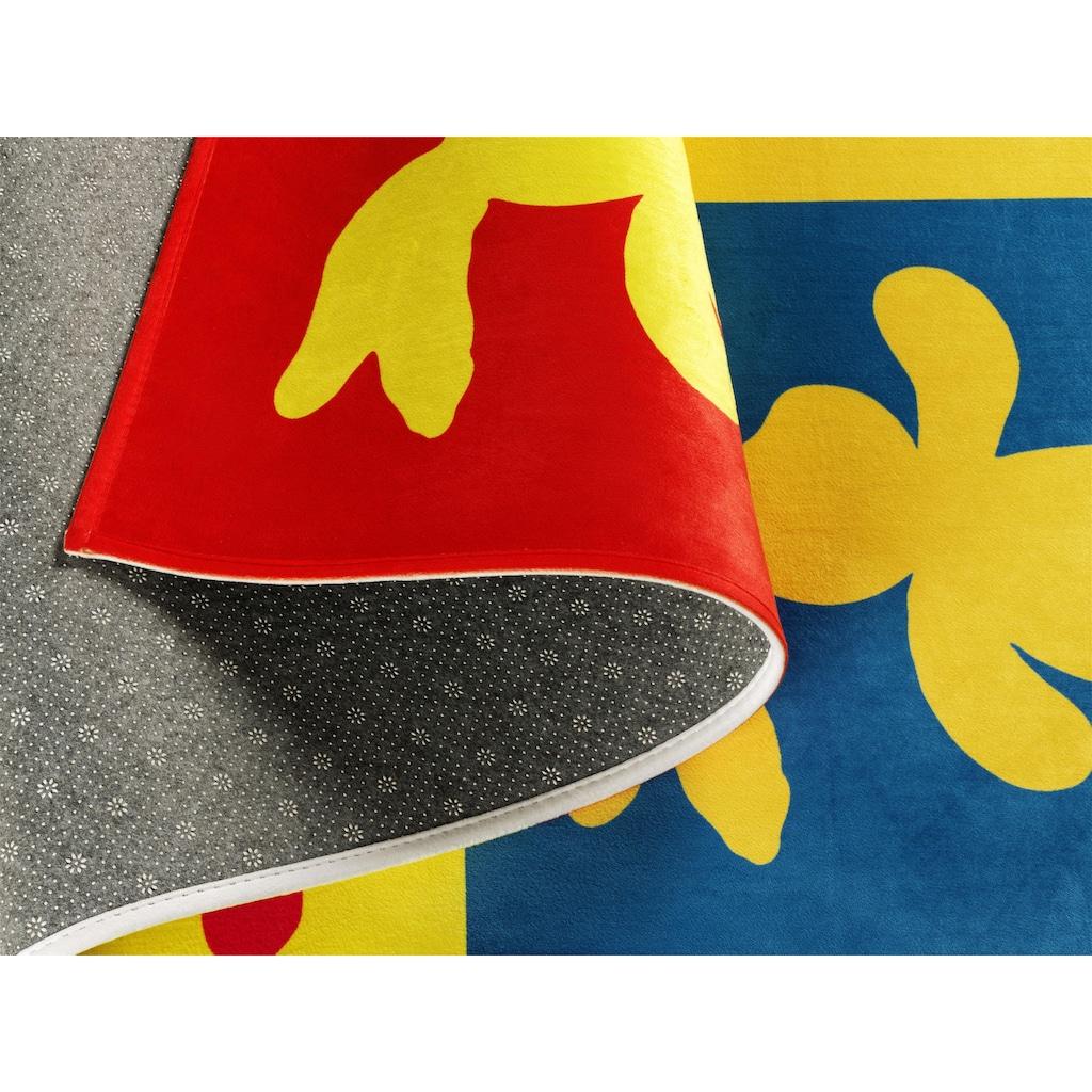 Felix der Hase Kinderteppich »FE-411«, rechteckig, 6 mm Höhe, Stoff Druck, weiche Mircofaser