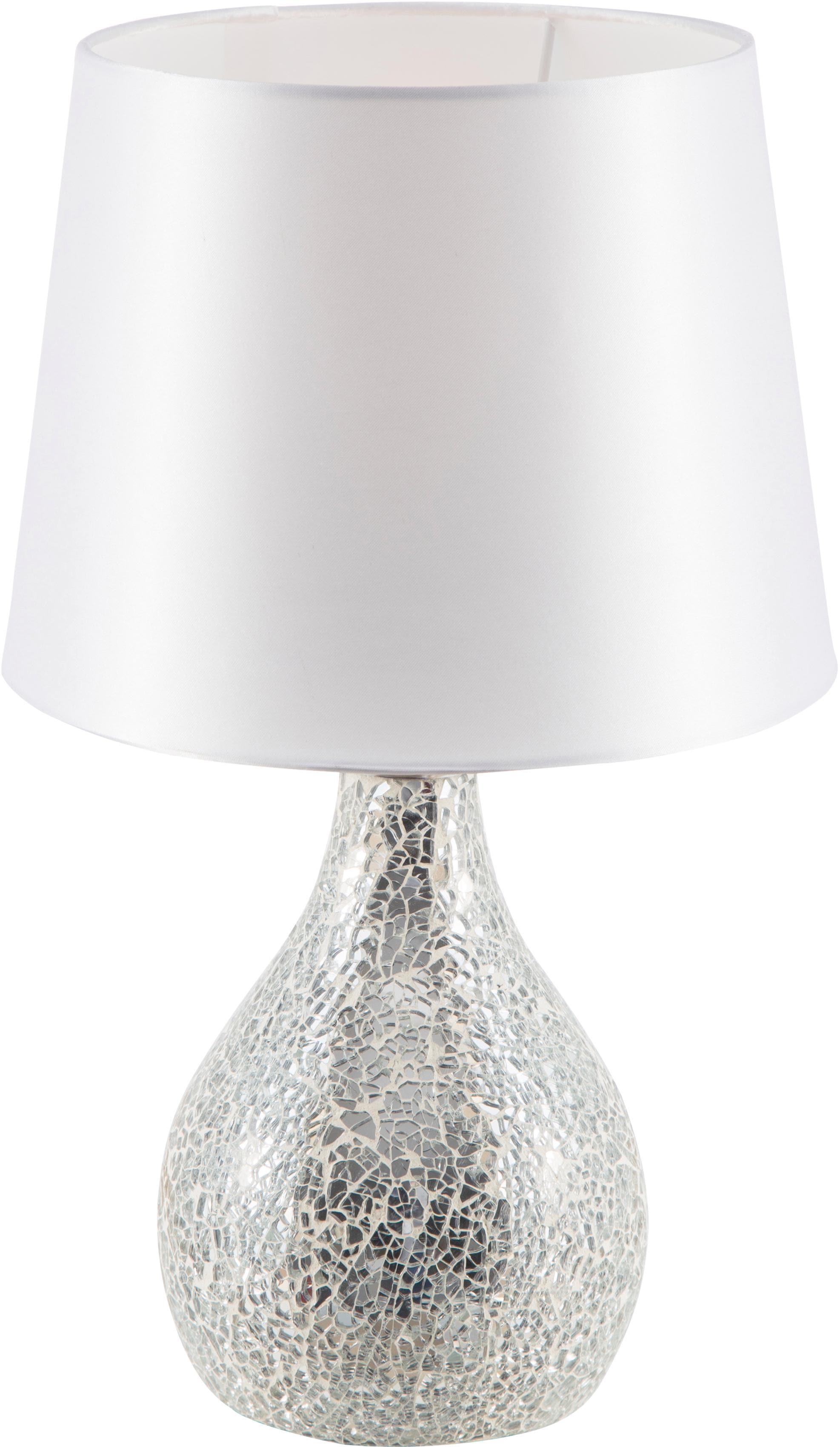 Nino Leuchten Tischleuchte SUSA, E14, Metallsockel in Mosaikoptik, Stoffschirm