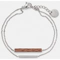 "KERBHOLZ Quarzuhr »Amelie Oak Slate Grey, XMAS-SET« (Set, 2 tlg., mit Armband Rectangle Bracelet Walnut Shiny Silver"")"
