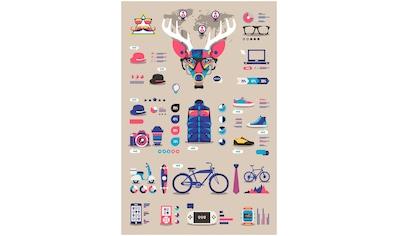 Art & Pleasure Holzbild »Hipster deer«, Fashion kaufen