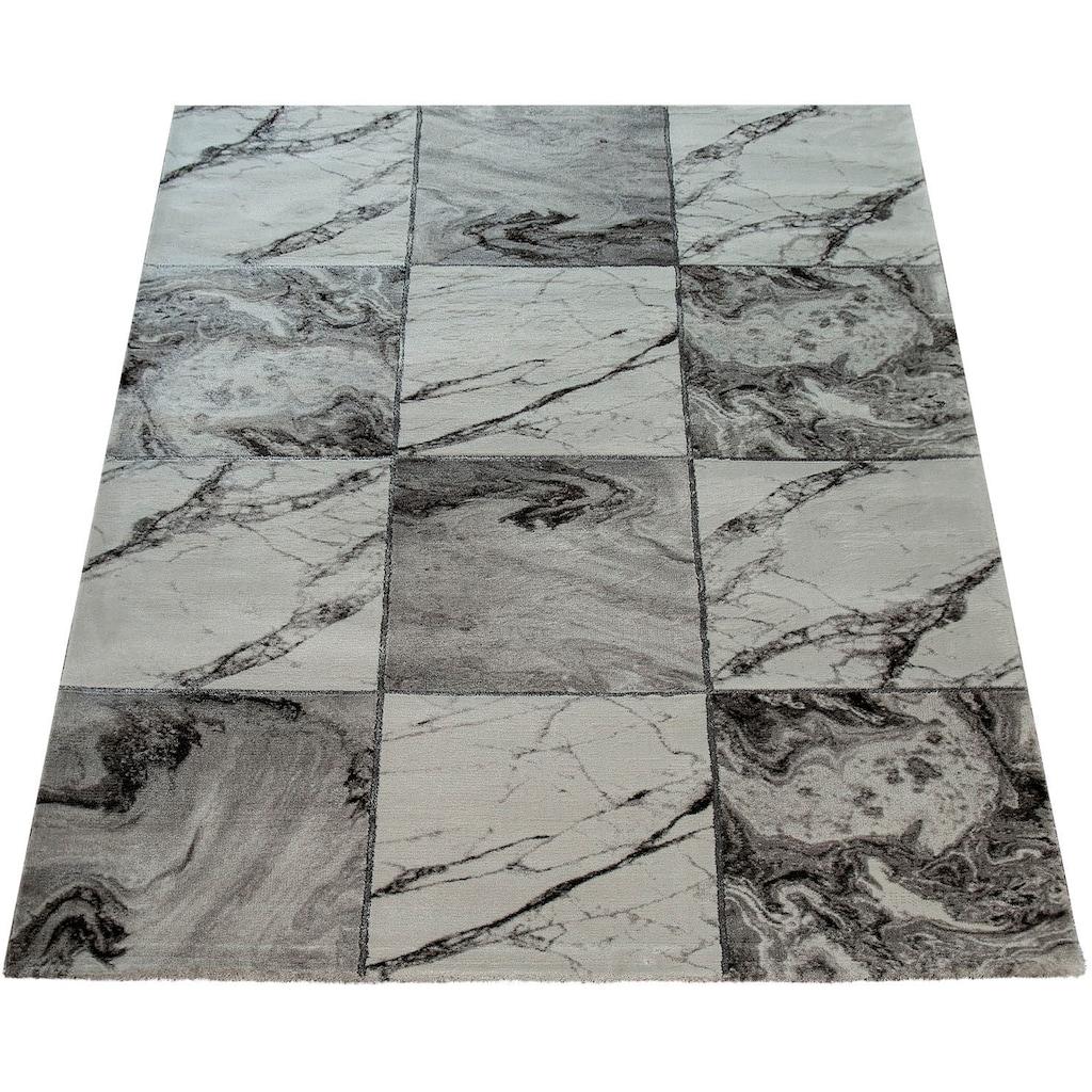 Paco Home Teppich »Kraft 521«, rechteckig, 17 mm Höhe, Kurzflor mit Marmor-Design, Wohnzimmer