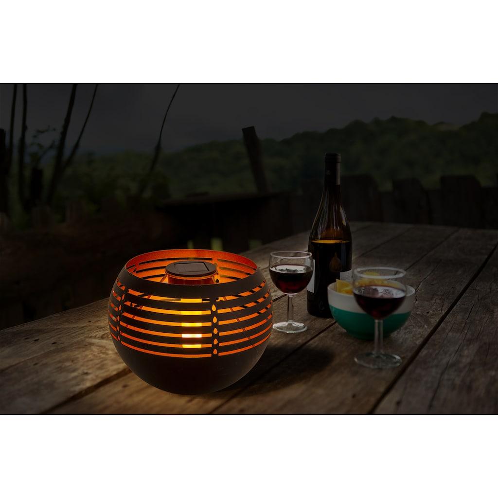näve LED Außen-Tischleuchte »Solar-Tischleuchte«, LED-Modul, 1 St., Warmweiß, Flammeneffekt, Schiebeschalter