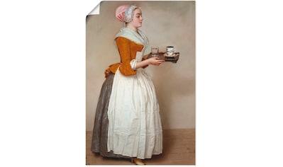Artland Wandbild »Das Schokoladenmädchen. Um 1744/45«, Frau, (1 St.), in vielen Größen & Produktarten - Alubild / Outdoorbild für den Außenbereich, Leinwandbild, Poster, Wandaufkleber / Wandtattoo auch für Badezimmer geeignet kaufen