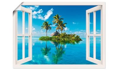 Artland Wandbild »Fensterblick Insel Palmen Meer«, Fensterblick, (1 St.), in vielen... kaufen