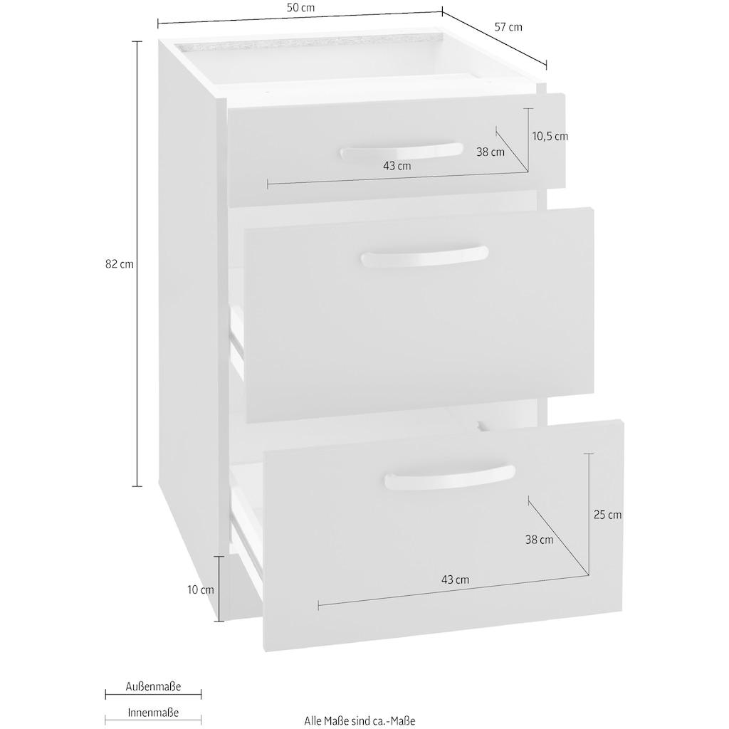 wiho Küchen Unterschrank »Kansas«, 50 cm breit, mit 2 großen Auszügen ohne Arbeitsplatte