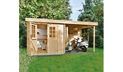 Kiehn - Holz Set: Gartenhaus »Schüberg 1«, BxT: 386x226 cm, Anbaudach mit Rückwand und Fußboden kaufen