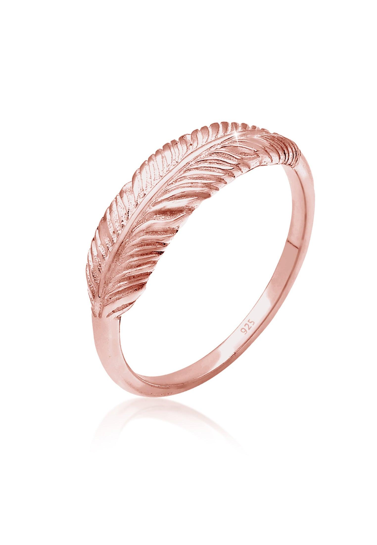 Elli Fingerring Silberring Feder 925 Sterling Silber | Schmuck > Ringe > Fingerringe | Goldfarben | Elli